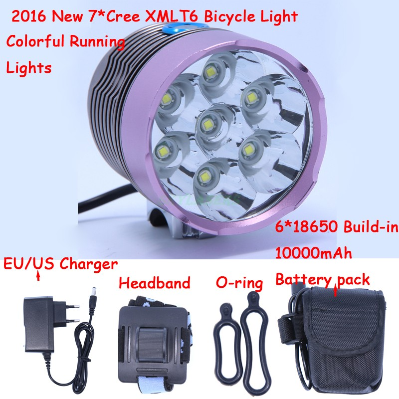 2016 New 10000Lm 7 x XM-L T6 LED Bright Headlamp Bicycle Bike Front Light With Colorful Running Lights + 10000mAh Battery Pack super bright bike bicycle light supwildfire 50000lm 15 x xm l t6 led power