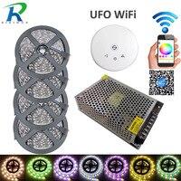 5M 10M 15M 20M LED light Strip SMD 5050 RGBW RGBWW LED Tape RGB Strip Transformer +UFO WiFi controller