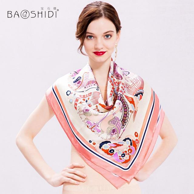 e9abe1762cd US $22.5 42% OFF|[BAOSHIDI]100% Silk Scarf Women, 2017 New Arrival,Fashion  Brand Scarf Shawl,Square Silk Scarves,Elegant lady Shawl latest design-in  ...