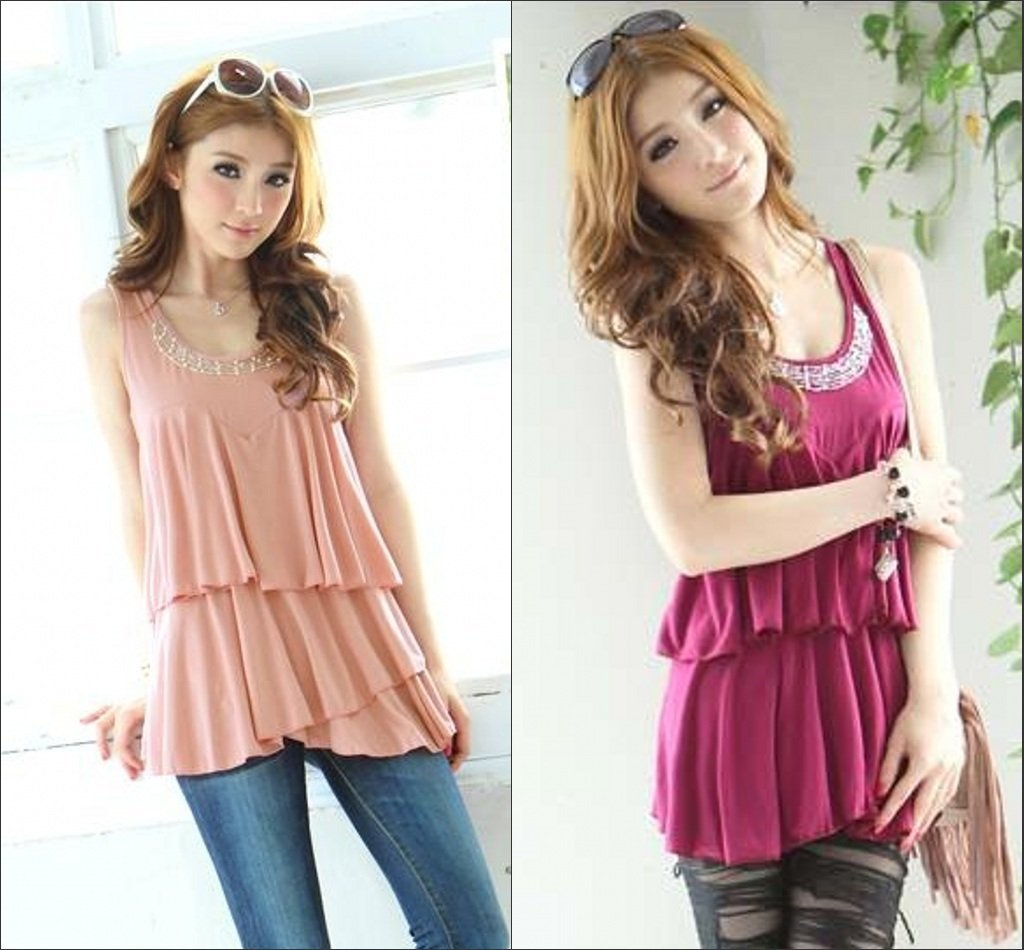 2012 New Arrival Fashion Women Tops Tiered Beaded Stylish Blouse Loose Asymmetric Ladies Casual