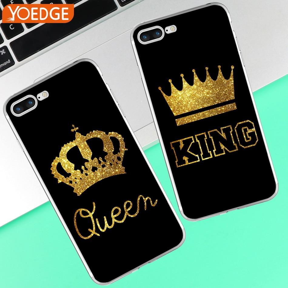 758d3cd11a8 For iPhone XR Xs Max X 8 4 4S 5 5S SE 5C 6 6 S 7 Plus King Queen Phone For  Coque