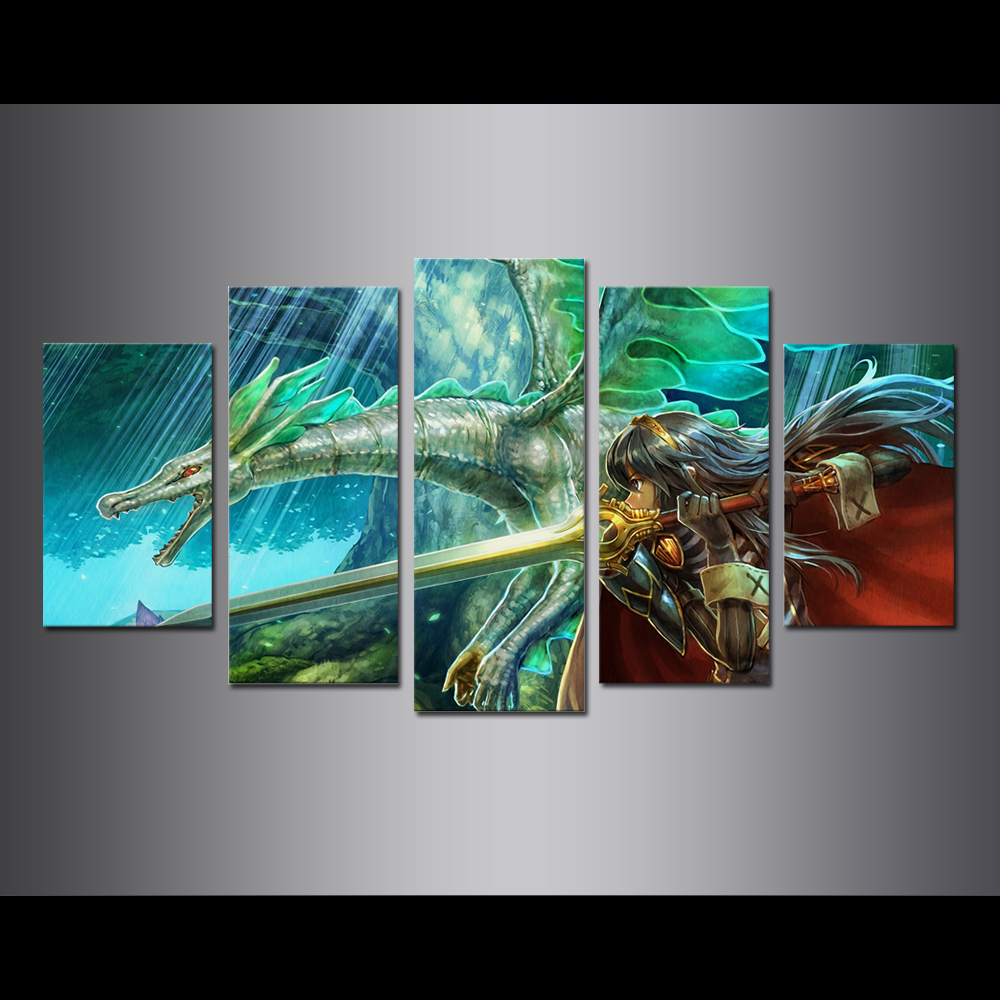 Unframed Canvas Painting Animation Female Dragon Knight Modular Picture Prints Pictures For Living Room Wall Art Decoration