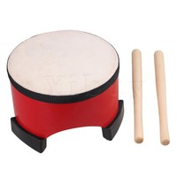 Yibuy 6 Inch Red Wooden Floor Tom Drum Children Percussion Entertainment Musical Instruments Toy With Sticks