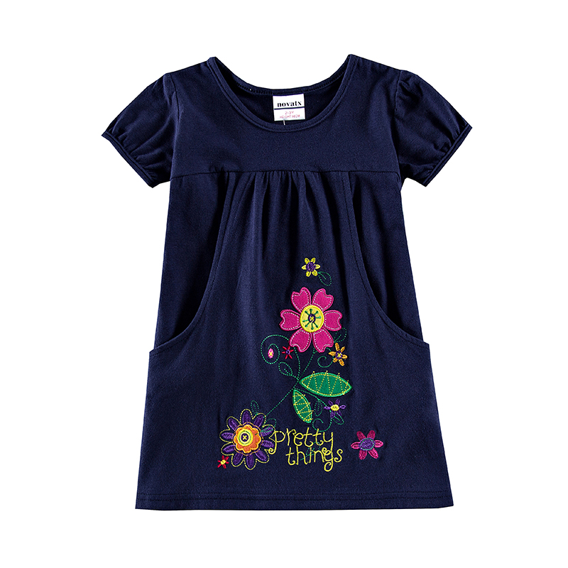 NOVATX Dress for girls children kids clothing summer floral embroidery a-line princess dress roupas infantis kids frocks H7104
