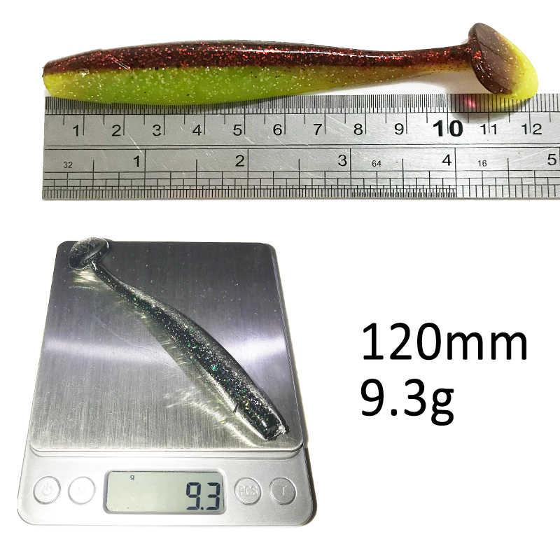 KASSYAA 3 pièces 110mm 9g T queue gros appât souple Double couleur Silicone bar Minnow leurre de pêche appâts de pêche en plastique Wobblers KXY083