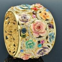 High Quality Austrian Crystals Rhinestone Enamel Women Rose Flower Big Bracelet Bangle Cuff SKCA1767M On Sale