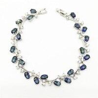 Новый стиль Дерево лист стерлингового серебра браслет цепочка для женщин синий Радуга Мистик гранат белый циркон ювелирные изделия 7 дюймо