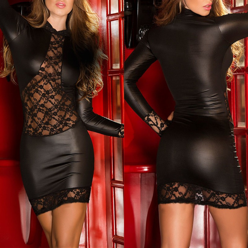 Buy Erotic Lingerie Women PU Leather Long Sleeve Mesh See-through Babydoll Dress Pole Dance Porn Sex Latex Nightwear Underwear