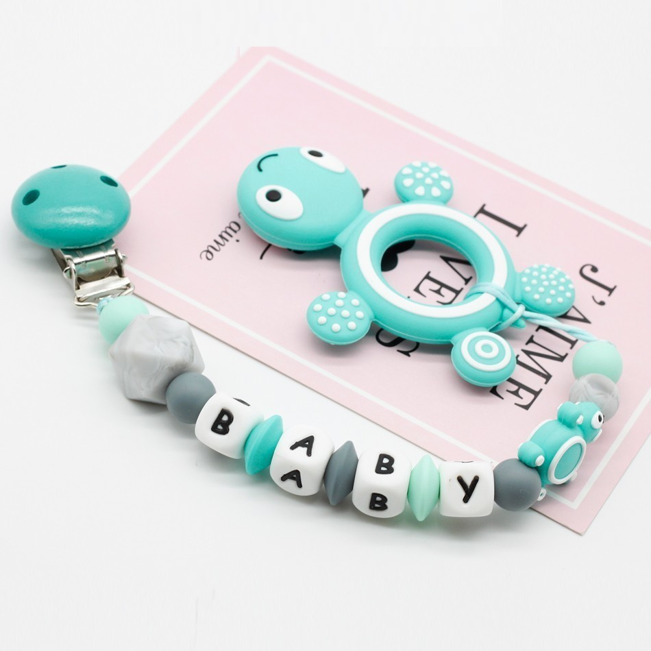 Personal Custom Personalized Pacifier Clip Silicone Tortoise Pendant Baby Teething Nursing Dummy Chain