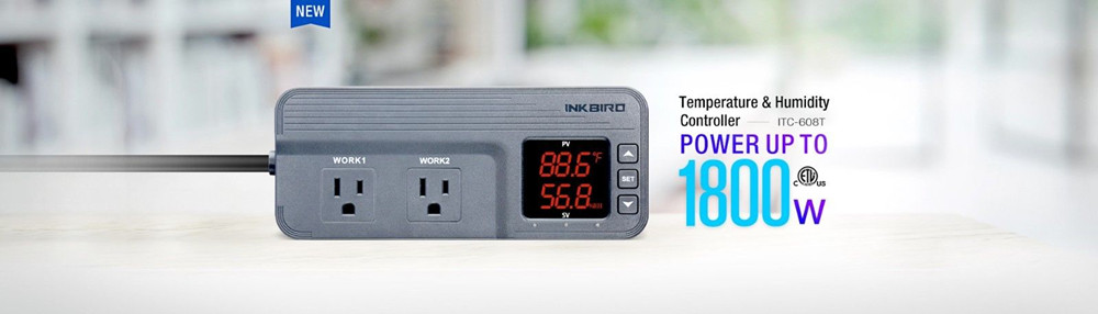 Inkbird Temperature Humidity Controller ITC608T Pre Wired AC Dual Stage Outlet Thermostat Humidistat 12 Period Timer 120V 15A 1800W Cooling Heating Humidifier Dehumidifier Greenhouse Aquarium Brewing