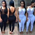 sexy women mesh jumpsuit feather decorated sleeveless bodysuit black and white rompers playsuit 2015