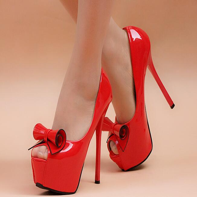 Women Super High Heels Sexy Platform Shoes Sweet Bowtie Princess Style Thin High Heels Open The Toe Pure Color Shoes