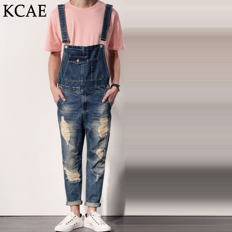 Free shipping Mens Casual Denim Jumpsuit Mens Slim Jeane Overalls Ripped Vintage Bib Pants Male suspenders jeans  2016 spring autumn fashion brand mens slim jeane overalls casual bib jeans for men male ripped denim jumpsuit