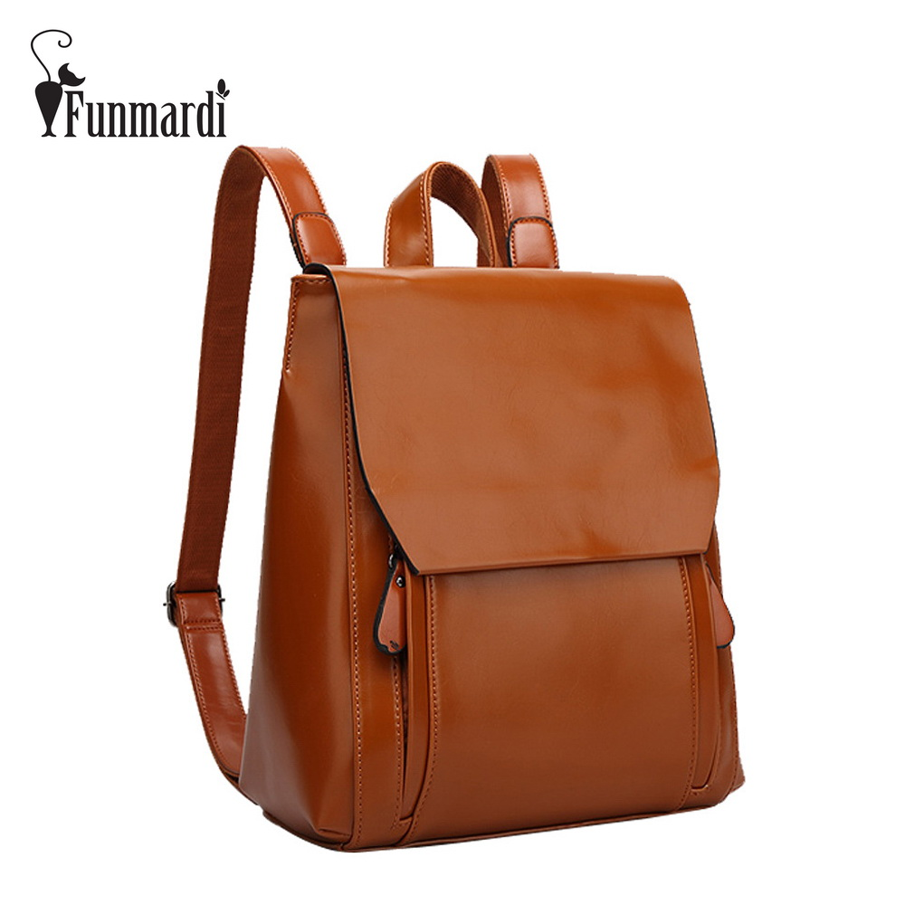 FUNMARDI New arrival vintage leather backpack simple style leather women bag fashion brand design travel bag school bag WLHB1620 miwind famous brand preppy style leather school backpack bag for college simple design travel leather backpack bags tlj1082