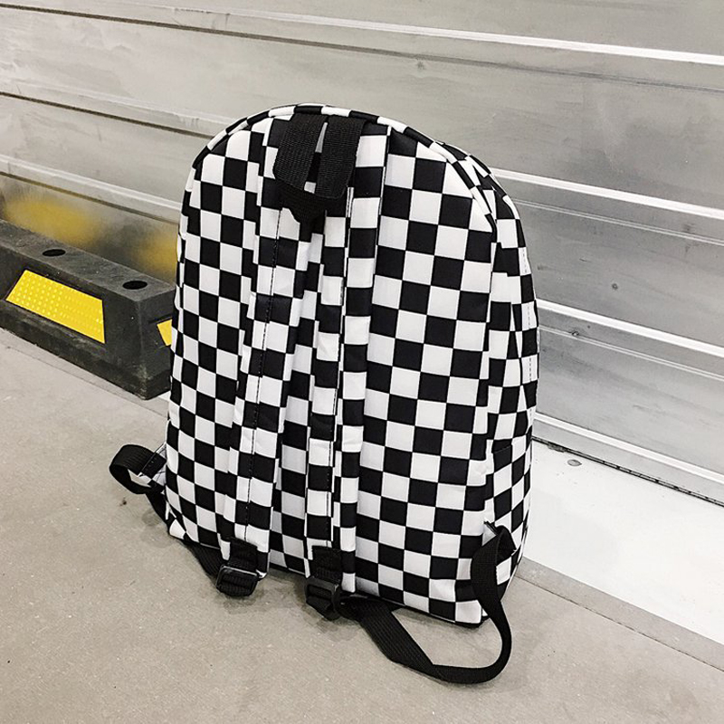 2020 Unisex Plaid Nylon Female Travel Daypack Laptop Backpack Book Schoolbags Feminina School Casual Rucksack Women Bag Rugzak (Black and White)