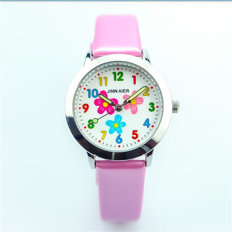 Nazeyt Fashion Children Luminous Hands Quartz Watch Little Boys And Girls Student Cute Flower Dial Leather Clock Reloj De Cuarzo