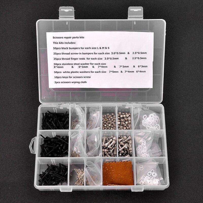 Caixa de peças de cabelo tesoura Tesoura Reparação 1 kits acessórios incluindo bumpers/dedo repousa/chaves de parafuso/aço inoxidável arruela de aço