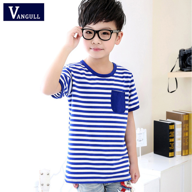 2016 Summer New Children's Clothing Boys Cotton Short-sleeved T-shirt Children Casual Round neck Striped Fashion T-shirt