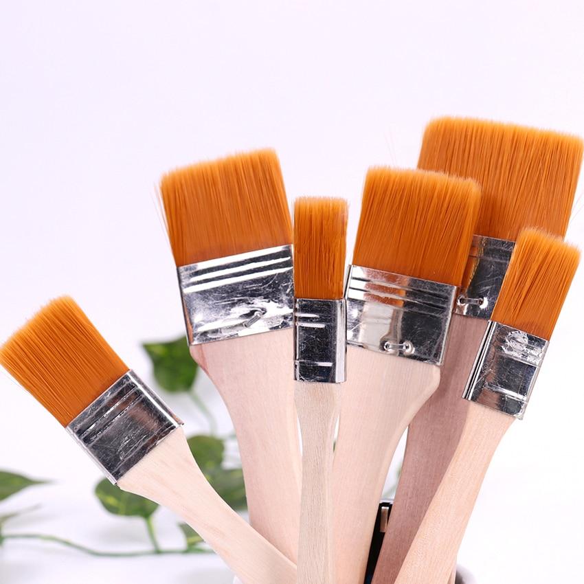 1-6 # нейлоновые волосы деревянная ручка акварель кисть для рисования, ручка для обучения масла акриловая краска ing Art paint кисти Поставки