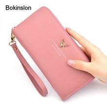 Bokinslon Woman Wallet Brand Fashion PU Leather Large Capacity Litchi Profile Wo