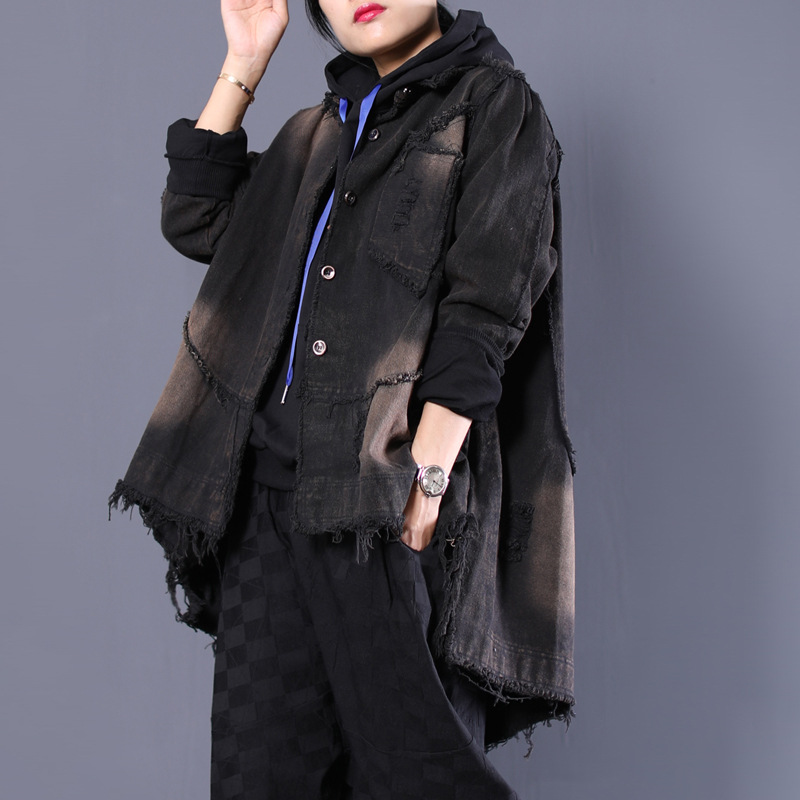 b3a408a15 US $55.0 45% OFF|Autumn Winter Women Denim Jacket 2018 Harajuku boyfriend  Black Jean Jacket Loose Long Sleeve Female Coats Large Size AA4287-in Basic  ...