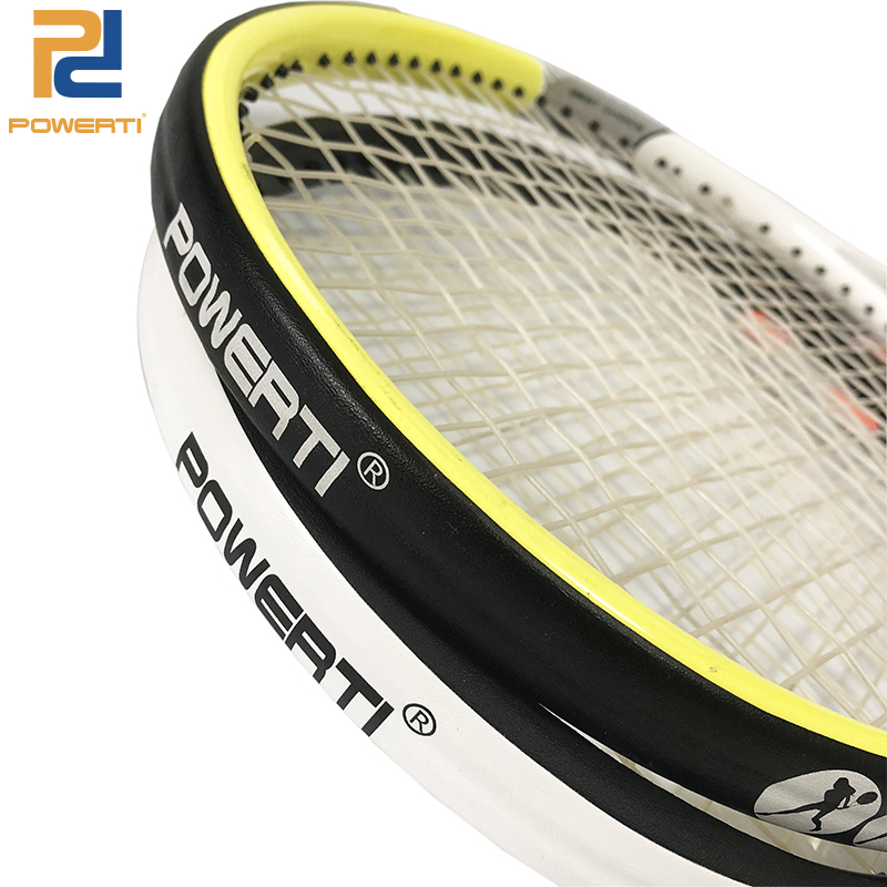 POWERTI Tennis Frame Protect PU Overgrip Viscosity Stickers Tennis Racket Tape Reduce Friction 5M Black And White