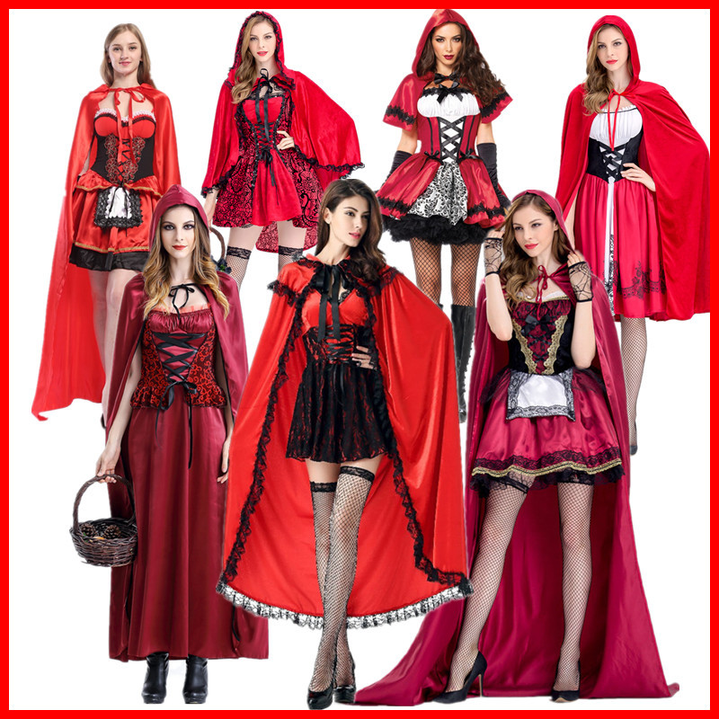 Adult Little Red Riding Hood Long Cape Party Fancy Dress Women Halloween Costume