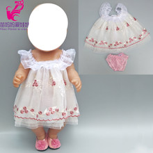 "Dolls dress for 43cm born Baby Doll embroidery lace princess summer dress with underwear 18"" girls boy doll clothes(China)"