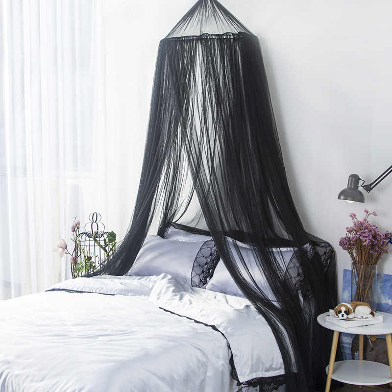 black and white hung dome mosquito net princess insect bed canopy netting round mosquito net for single bed