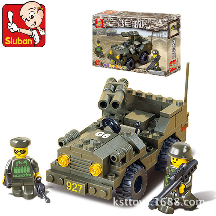 Sluban Model building kits compatible with lego city Military Double gun SUV 998 3D blocks Educational
