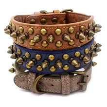 Punk Spiked Pet Dog Collar PU Leather Leash for Dogs Rivet Studded Puppy Necklace Adjustable Accessories