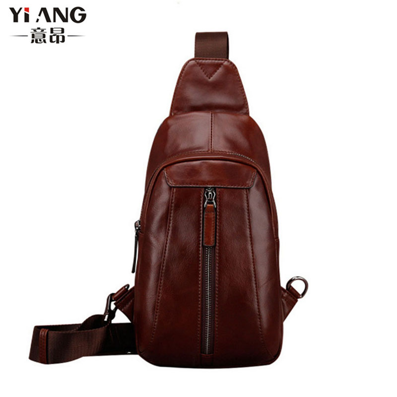 Men High Quality Genuine Leather First Layer Cowhide Sling Chest Bag Vintage Travel Messenger Shoulder Cross body Bag