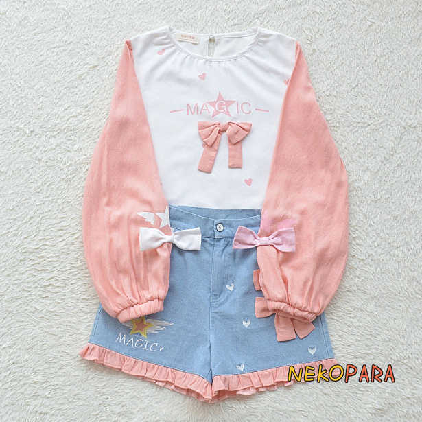 f301cfe1e Detail Feedback Questions about Pink Magic Super Cute Girl's Summer 2pcs  Women's Set Long Sleeve T shirt Tee Tops & Cotton Jeans Style Shorts on ...