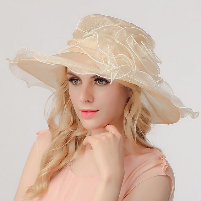 High grade aristocratic temperament Eugen gauze sun hat summer flowers big canopy Beach Hat sun basin cap