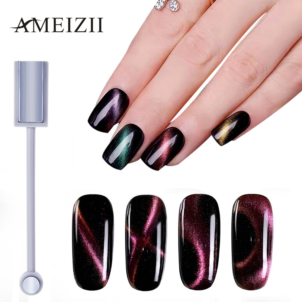 AMEIZII 3D Cat Eyes Double-headed Magnetic Plate Magnet Pen For DIY Nail Gel Polish Nail Art Varnish Manicure Gel Lacquer Tool