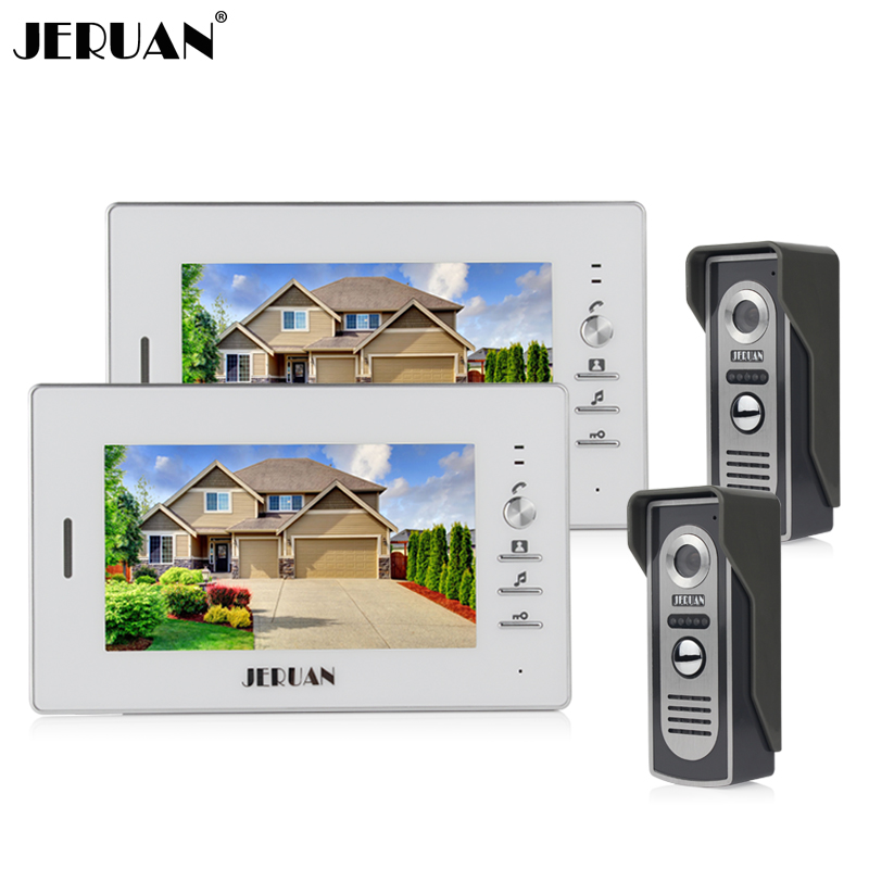 JERUAN 7 inch color screen Video door phone intercom system TWO monitor + 2 IR Night vision Camera jeruan wired 8 inch tft color screen video door phone record intercom system 4 monitor full metal ir night vision camera
