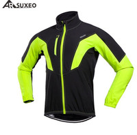 ARSUXEO Cycling Thermal Fleece Men S Long Autumn Winter Cycling Jacket Windproof Bike Bicycle Sports Coat