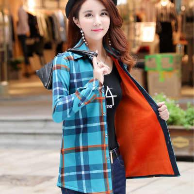 厚いビロード Blusas 冬の綿の長袖の女性の格子縞のシャツフランネルブラウス feminina シュミーズファム camisas femenina トップス