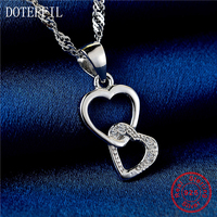 100 Sterling Silver Necklace Women Fashion Charm Double Heart Pendant Silver Necklace Luxury Jewelry