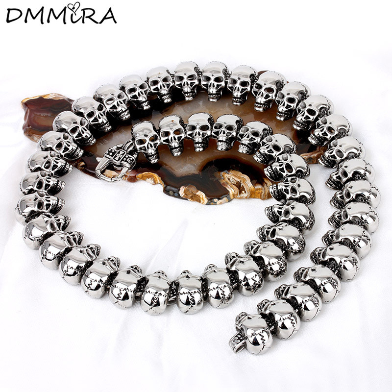 Haute qualité mode Arrogance hommes squelette chaîne collier rétro argent acier inoxydable beaucoup de crâne chaîne collier bijoux
