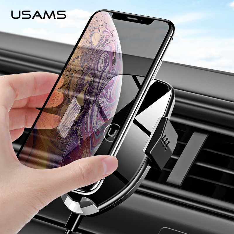 USAMS 360 Rotation Automatic Qi Wireless Charger Car Holder Air Vent Fast Charging Pad Phone Charger For IPhone XS XR 8 Samsung
