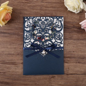 Image 2 - 50pcs Navy blue New Arrival Horizontal Laser Cut Wedding Invitations with RSVP card,pearl ribbon,CW25001B,Customizable