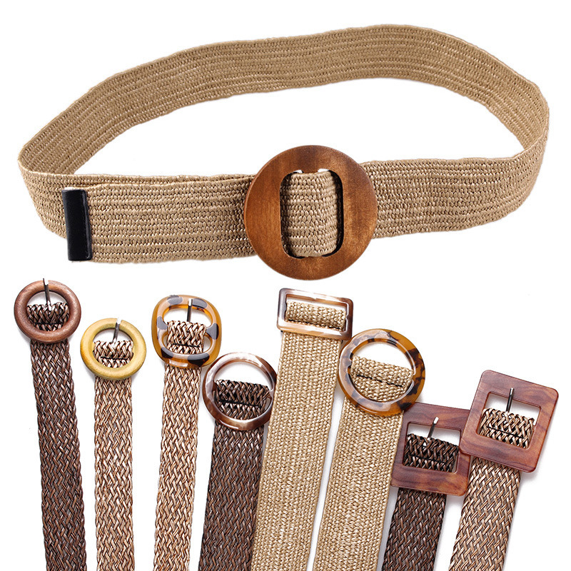 2019 Summer Trendy Women Crochet Vintage   Belt   Wood Buckle Retro Linen Knitting   Belt   Summer Dress   Belt