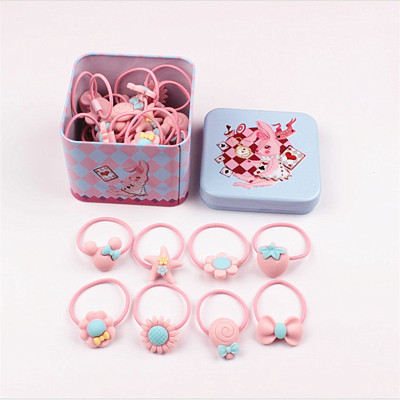 40Pcs/lot Fashion Headband Flower Bow Cartoon Children Pink Hair Accessories Elastic Bands Baby Girl Gift Hairband with Tin Box free shipping 2 colors newborn kid girl elastic flower headband hairband hair accessories