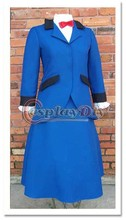 Cosplaydiy Mary Poppins Nancy Blue Dress Suit Outfit Halloween Cosplay Costume Custom Made
