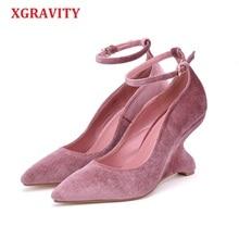 купить XGRAVITY Abnormal Heel Pointed Toe Wedges Strange High Heel Lady Wedge Shoes Elegant Fashion Woman High Heels Shoes Female A096 по цене 3101.82 рублей