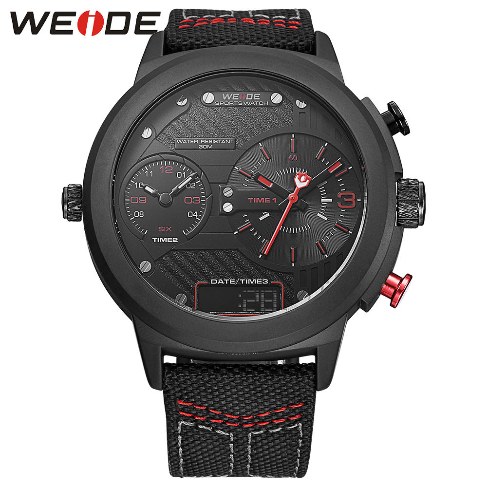 ФОТО WEIDE New Arrival Quartz Watch Men Casual Nylon Strap Watches 30m Waterproof Analog Date Display Three Time Zone Army Wristwatch