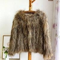 Вязаный крючком природа коричневый енота Меховая куртка пальто Топ куртки свитер кардиган черный пиджак трикотажные плюс Размеры Темно си