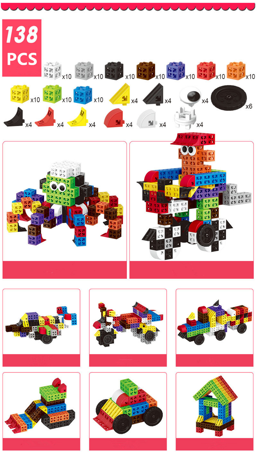 34/48/88/138/188pcs Blocks Cubes Unit Plastic Interlocking Construction Model Building Set of Early Educational Toys For Child 14