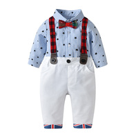 Toddler Baby Boys Clothing Set Gentleman Long Sleeve Print Star Rompers Shirt+Suspenders Pants Outfits Newborn Boys Clothes Set